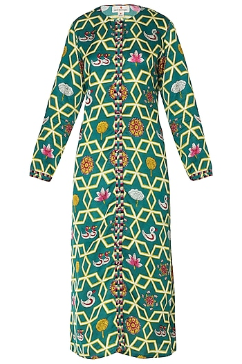 Dark Teal High-Low Printed Kurta by Swati Vijaivargie
