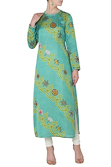 Light Teal Diagonal Bundi Printed Kurta by Swati Vijaivargie