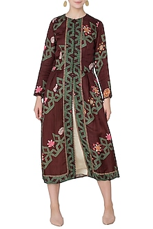Maroon Diagonal Print Front Open Jacket with Beige Dress by Swati Vijaivargie