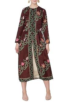Maroon Diagonal Print Front Open Jacket with Beige Dress by Swati Vijaivargie