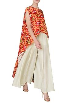 Orange High-Low Layered Printed Cape with Pleated Pants by Swati Vijaivargie
