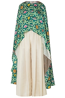 Green High-Low Layered Printed Cape with Pleated Pants by Swati Vijaivargie