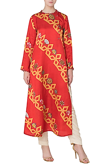 Orange Diagonal Bundi Print Straight Kurta by Swati Vijaivargie
