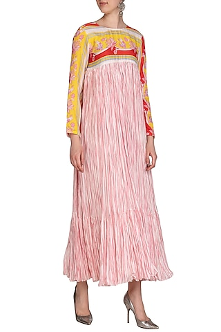 Yellow & Pink Printed Crushed Maxi Dress by Swati Vijaivargie