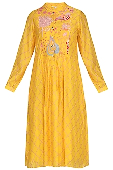 Yellow Jaal Motif Dress by Swati Vijaivargie