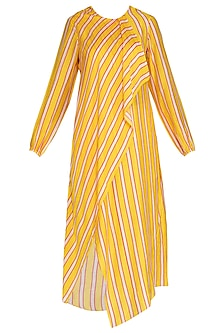 Yellow Striped Draped Tunic by Swati Vijaivargie