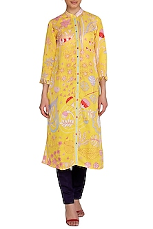 Yellow Jaal Printed Kurta by Swati Vijaivargie