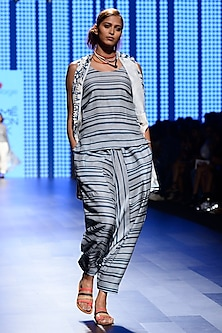 Off White and Teal Blue Printed Jacket With Striped Top and Pants by Swati Vijaivargie