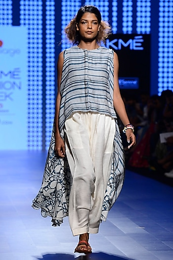 Off White and Teal Blue Striped High Low Cape and Pants Set by Swati Vijaivargie