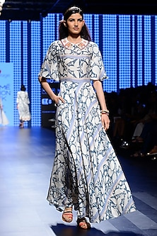 Off White and Teal Blue Printed Tunic by Swati Vijaivargie