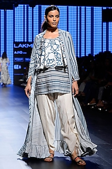 Off White and Teal Blue Striped Jacket, Camisole, Singlet and Dhoti Pants Set by Swati Vijaivargie