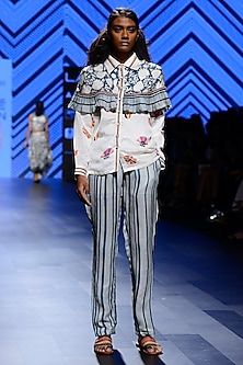 Off White and Teal Blue Printed Pants and Shirt Set by Swati Vijaivargie