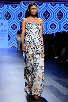 Off White and Teal Blue Prinyed Maxi Dress by Swati Vijaivargie