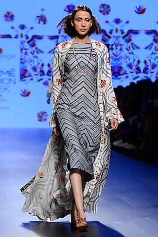 Off White and Teal Blue Chevron Dress and Jacket Set by Swati Vijaivargie