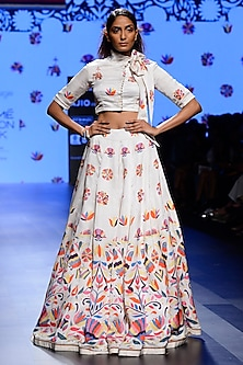 Off White Embroidered Motifs Crop Top and Skirt Set by Swati Vijaivargie