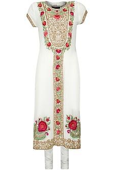 Ivory resham and thread embroidered kurta set by Suneet Varma