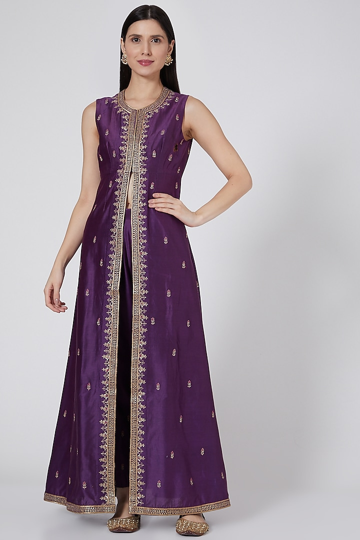 Purple Embroidered & Pleated Pant Set by Sawan Gandhi