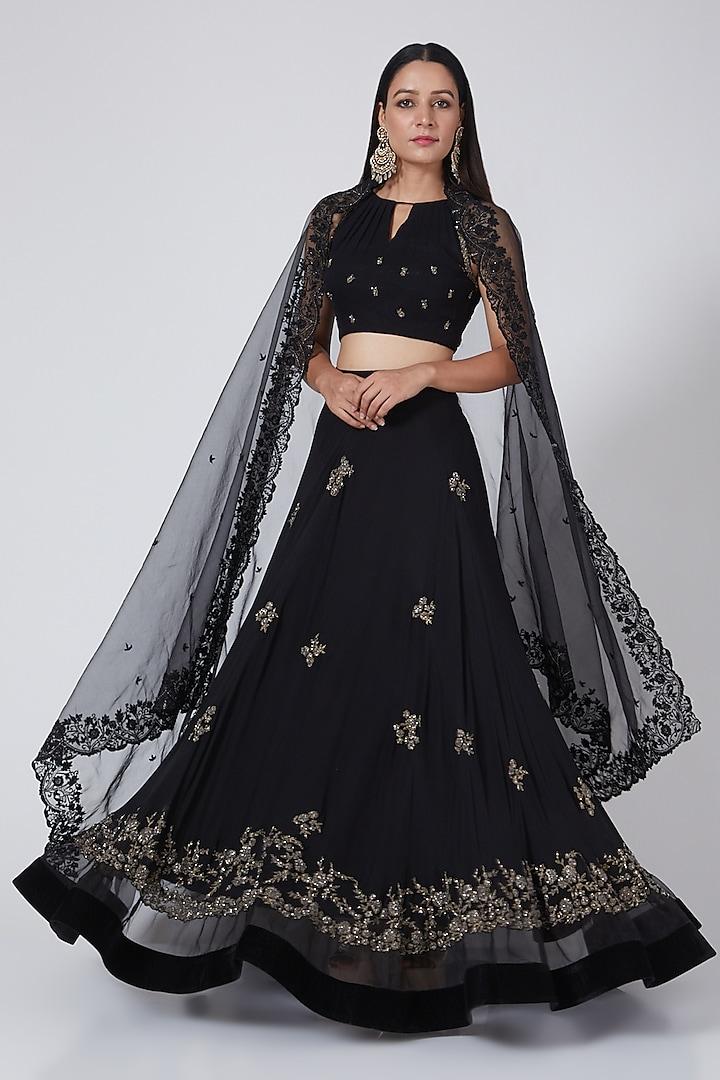 Black Embroidered Lehenga Set by Sawan Gandhi