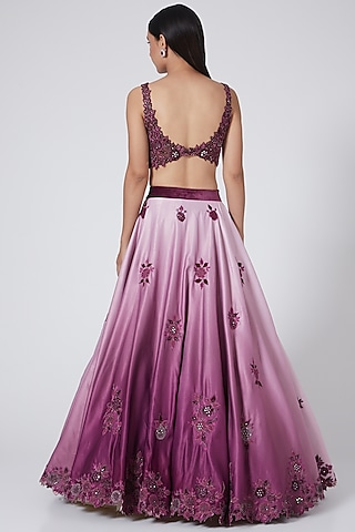 Wine Ombre Embroidered Lehenga Set by Sawan Gandhi