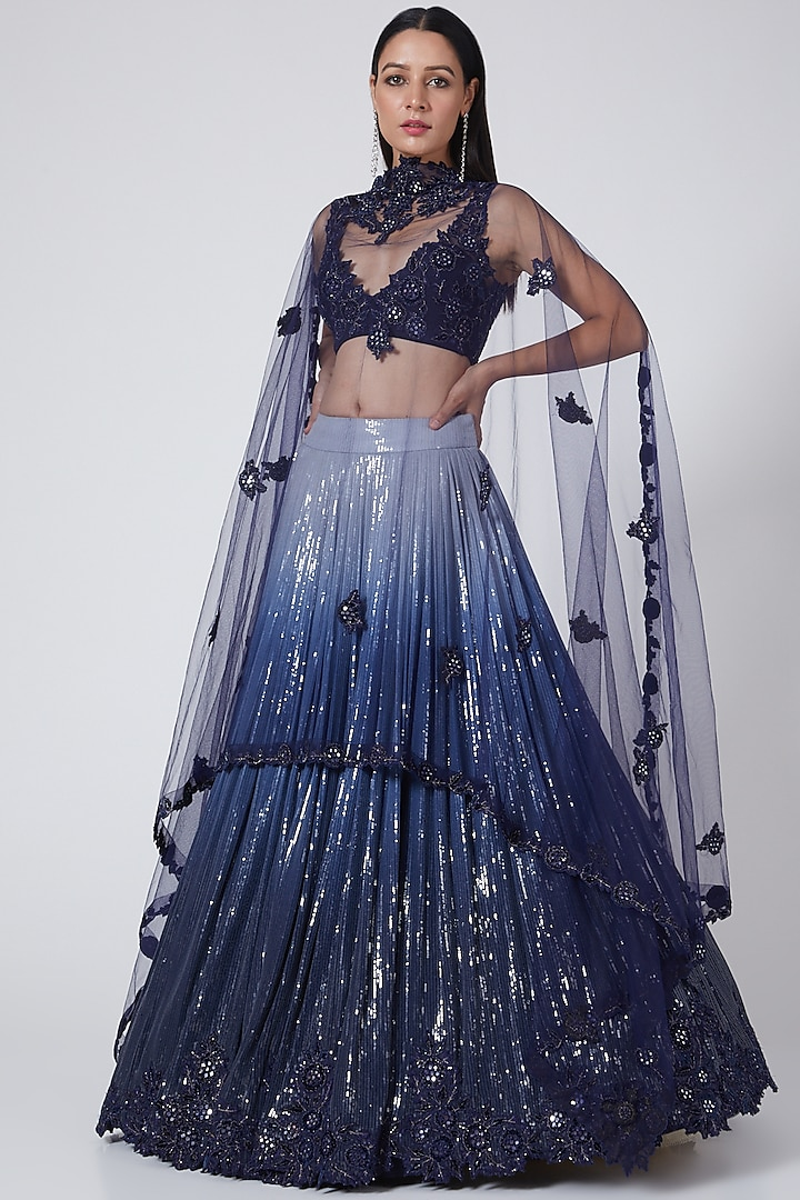 Blue Ombre Embroidered Lehenga Set by Sawan Gandhi
