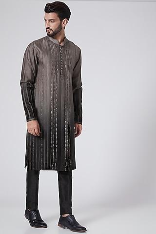 Black To Taupe Ombre Chanderi Kurta by Sawan Gandhi Men