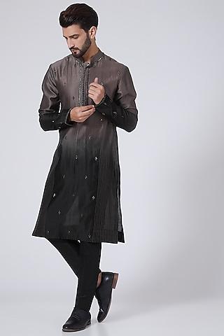 Black To Taupe Ombre Kurta by Sawan Gandhi Men