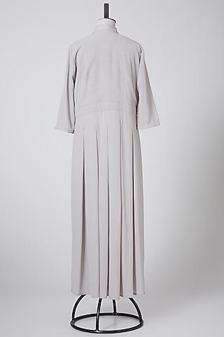 Grey Pleated Maxi Dress by Swati Jain