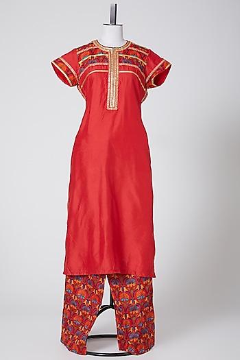 Red Kurta Set by Swati Jain