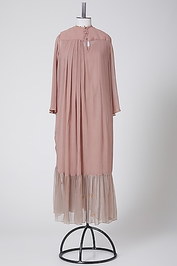 Onion Pink Pleated Maxi Dress by Swati Jain