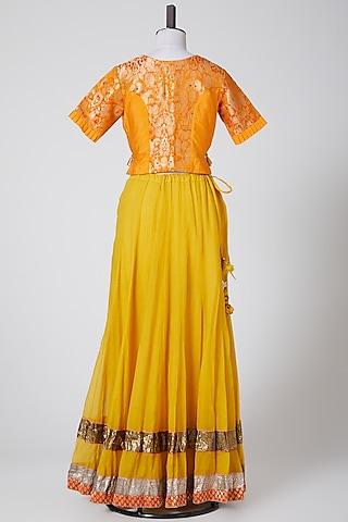 Yellow Embroidered Lehenga Set by Swati Jain