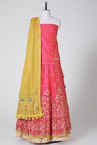 Pink & Yellow Embroidered Lehenga Set by Swati Jain