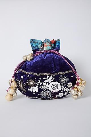 Navy Blue Thread Embroidered Potli by Swati Jain