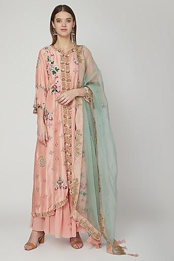 Blush Pink Embroidered Anarkali Set by Swati Jain