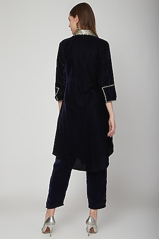Cobalt Blue Short Kurta With Pants by Swati Jain