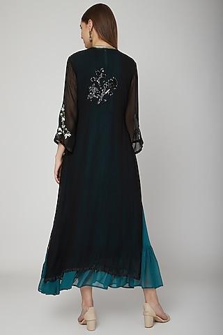 Black Cape Maxi Dress With Inner by Swati Jain