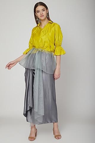 Grey Skirt With Yellow Top by Swati Jain