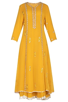 Yellow Embroidered Layered Kurta Set by Swati Jain