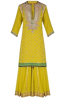 Lime Yellow Embroidered Sharara Set by Swati Jain