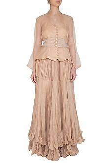 Beige Blouse With Skirt & Pleated Belt by Swati Jain