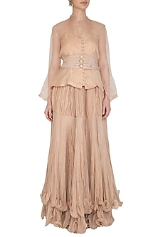 Beige Blouse With Skirt & Pleated Belt by Swati Jain
