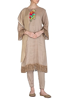 Brown Tasseled Kurta With Pants by Swati Jain