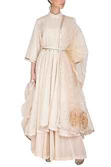 Beige Embroidered Anarkali Set With Belt by Swati Jain