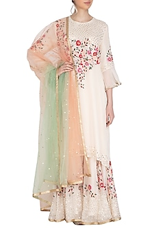 White Embroidered Sharara Set by Swati Jain