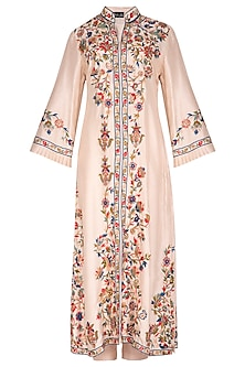 Peach Embroidered Kurta Set by Swati Jain