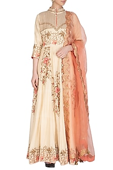 Ivory Embroidered Anarkali Set by Swati Jain