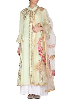 Green Embroidered Sharara Set by Swati Jain