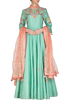 Blue Embroidered Anarkali Set by Swati Jain
