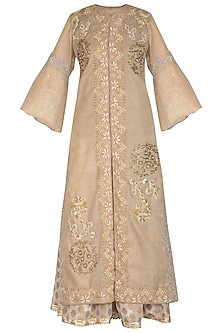 Beige Embroidered Kurta With Sharara Pants by Swati Jain