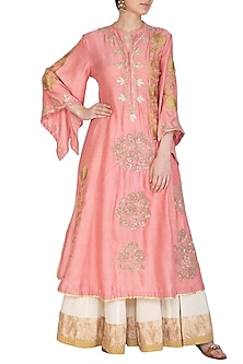 Peach Embroidered Kurta With Palazzo Pants by Swati Jain