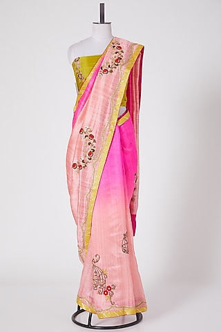 Light & Dark Pink Embroidered Saree Set by Swati Jain